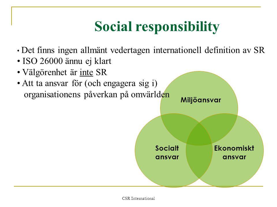 CSR International Miljöansvar Ekonomiskt ansvar Socialt ansvar Social responsibility • Det finns ingen allmänt vedertagen internationell definition av