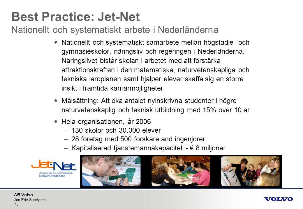 AB Volvo Jan-Eric Sundgren 10  Nationellt och systematiskt samarbete mellan högstadie- och gymnasieskolor, näringsliv och regeringen i Nederländerna.