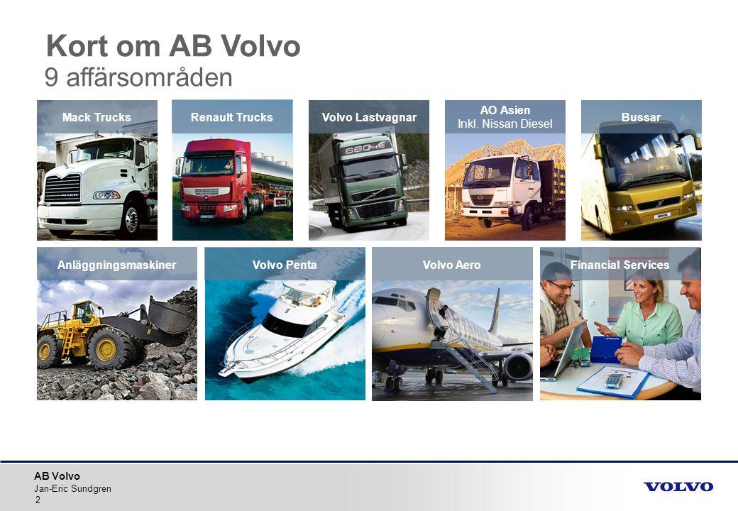 AB Volvo Jan-Eric Sundgren 2 Volvo Aero Bussar AnläggningsmaskinerVolvo PentaFinancial Services Kort om AB Volvo 9 affärsområden AO Asien Inkl. Nissan