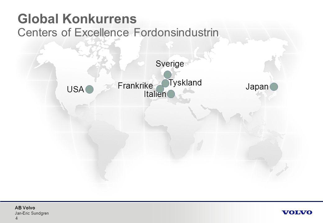 AB Volvo Jan-Eric Sundgren 4 Japan USA Frankrike Sverige Italien Tyskland Global Konkurrens Centers of Excellence Fordonsindustrin