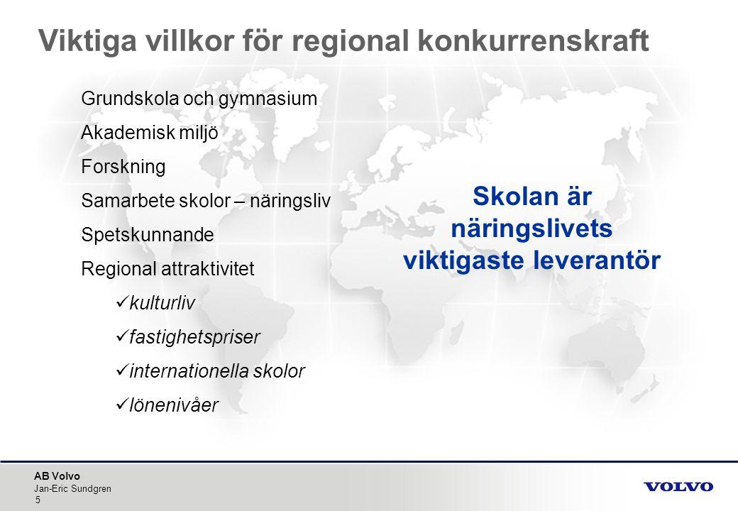 AB Volvo Jan-Eric Sundgren 5 Grundskola och gymnasium Akademisk miljö Forskning Samarbete skolor – näringsliv Spetskunnande Regional attraktivitet  k