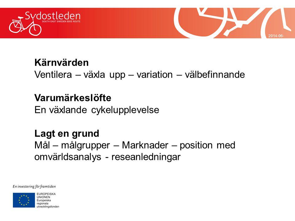 2014-06-29 Kärnvärden Ventilera – växla upp – variation – välbefinnande Varumärkeslöfte En växlande cykelupplevelse Lagt en grund Mål – målgrupper – M
