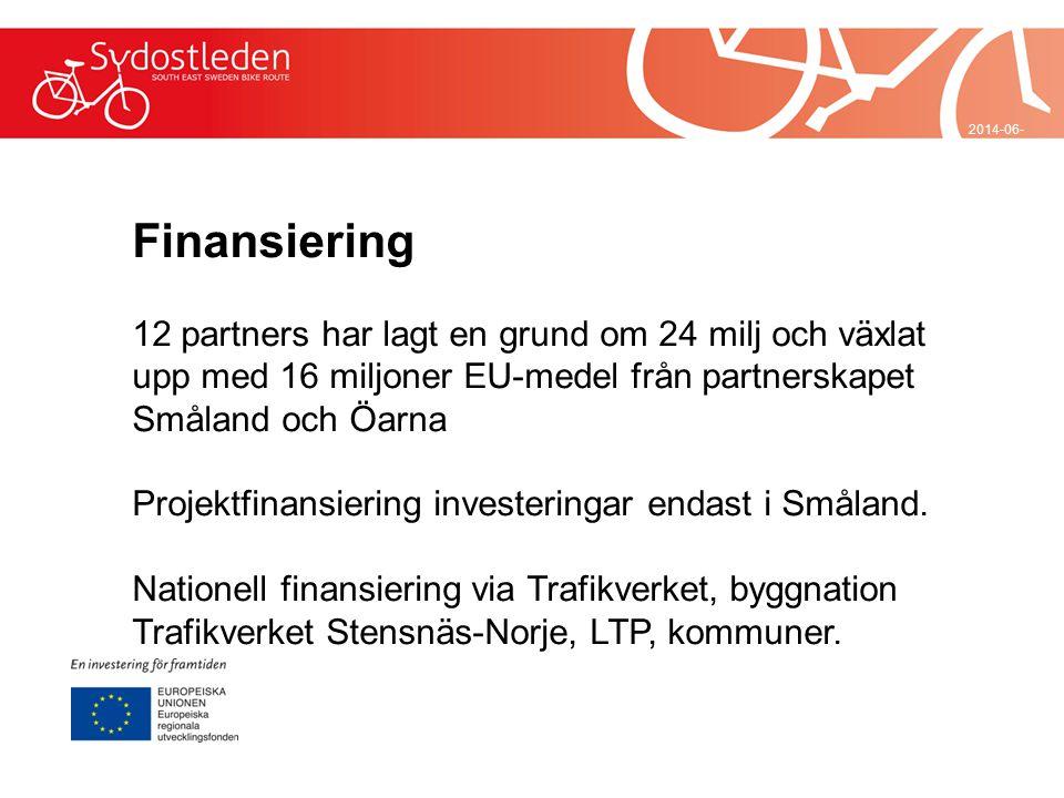 2014-06-29 Finansiering 12 partners har lagt en grund om 24 milj och växlat upp med 16 miljoner EU-medel från partnerskapet Småland och Öarna Projektf