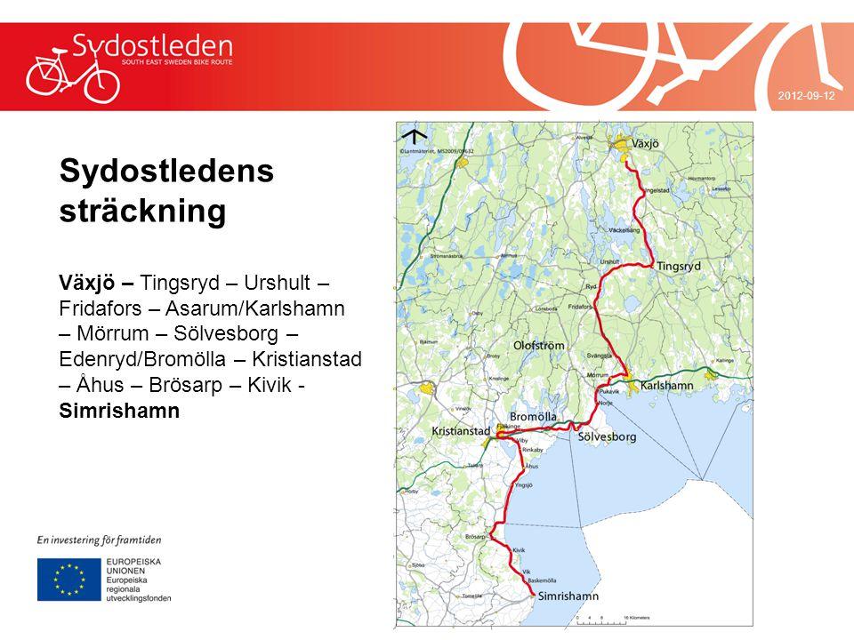 2012-09-12 Sydostledens sträckning Växjö – Tingsryd – Urshult – Fridafors – Asarum/Karlshamn – Mörrum – Sölvesborg – Edenryd/Bromölla – Kristianstad –