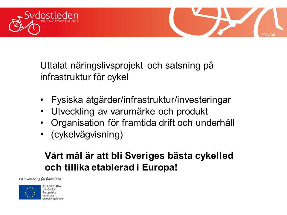 2014-06-29 Uttalat näringslivsprojekt och satsning på infrastruktur för cykel •Fysiska åtgärder/infrastruktur/investeringar •Utveckling av varumärke o