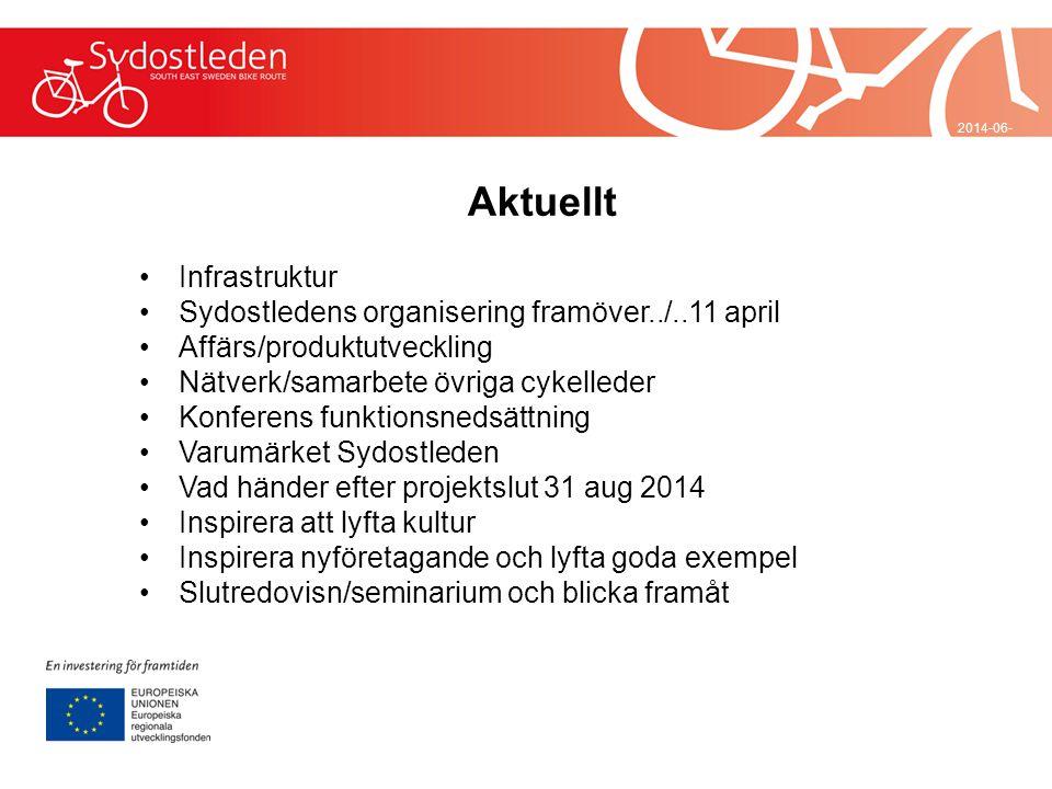 2014-06-29 Aktuellt •Infrastruktur •Sydostledens organisering framöver../..11 april •Affärs/produktutveckling •Nätverk/samarbete övriga cykelleder •Ko