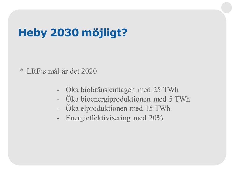Heby 2030 möjligt? *LRF:s mål är det 2020 -Öka biobränsleuttagen med 25 TWh -Öka bioenergiproduktionen med 5 TWh -Öka elproduktionen med 15 TWh -Energ