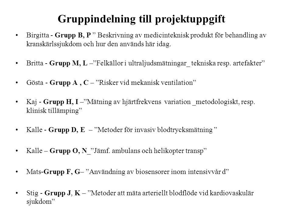 """Gruppindelning till projektuppgift •Birgitta - Grupp B, P """" Beskrivning av medicinteknisk produkt för behandling av kranskärlssjukdom och hur den anvä"""