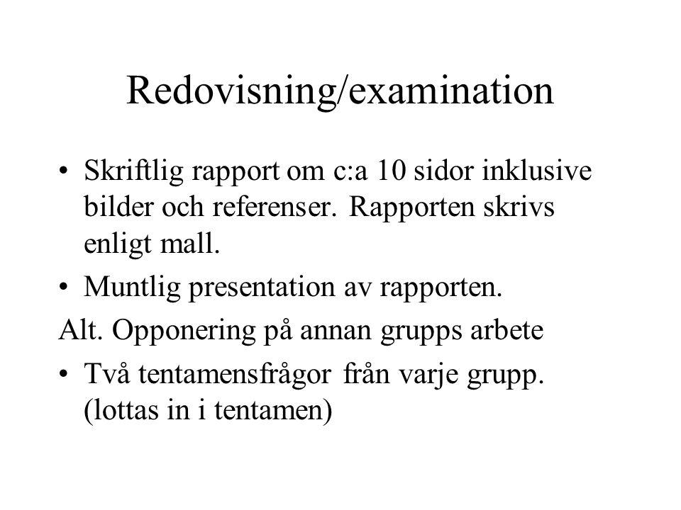 Redovisning/examination •Skriftlig rapport om c:a 10 sidor inklusive bilder och referenser. Rapporten skrivs enligt mall. •Muntlig presentation av rap
