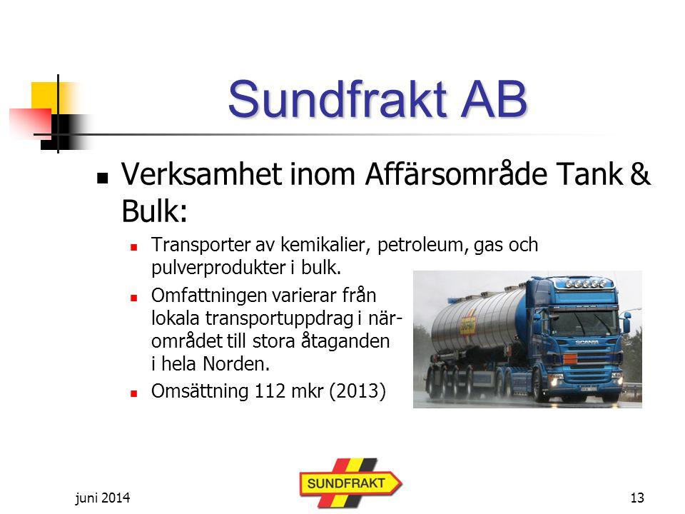 juni 2014 Sundfrakt AB  Verksamhet inom Affärsområde Tank & Bulk:  Transporter av kemikalier, petroleum, gas och pulverprodukter i bulk.