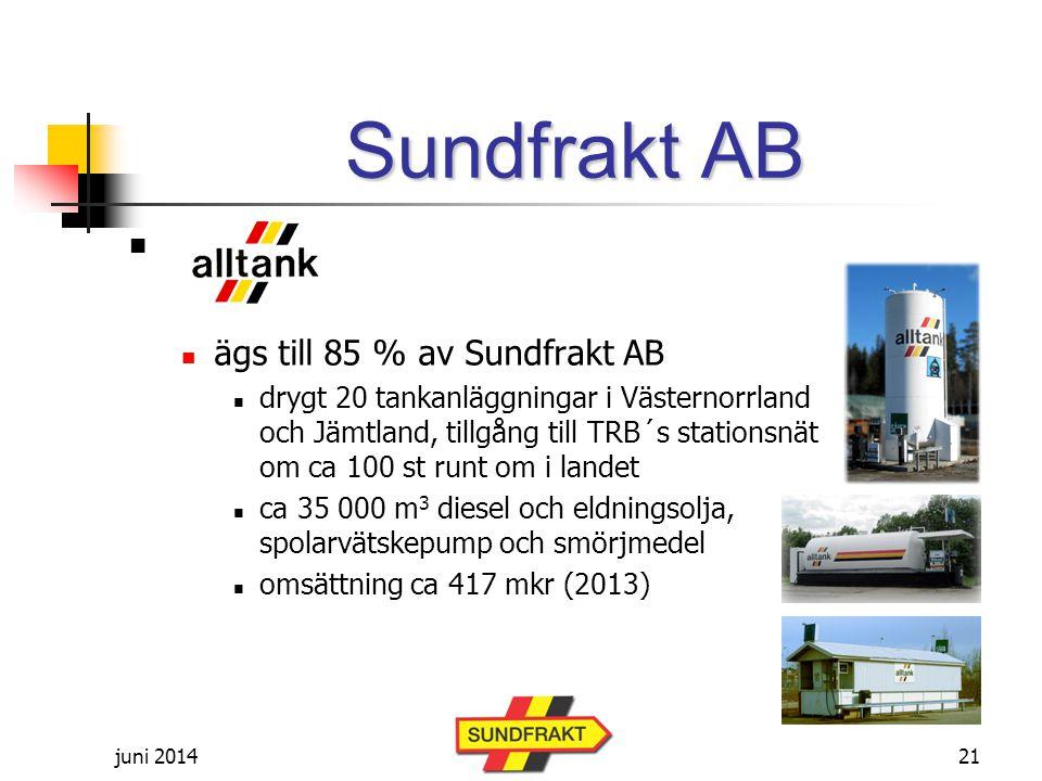 juni 2014   ägs till 85 % av Sundfrakt AB  drygt 20 tankanläggningar i Västernorrland och Jämtland, tillgång till TRB´s stationsnät om ca 100 st runt om i landet  ca 35 000 m 3 diesel och eldningsolja, spolarvätskepump och smörjmedel  omsättning ca 417 mkr (2013) Sundfrakt AB 21