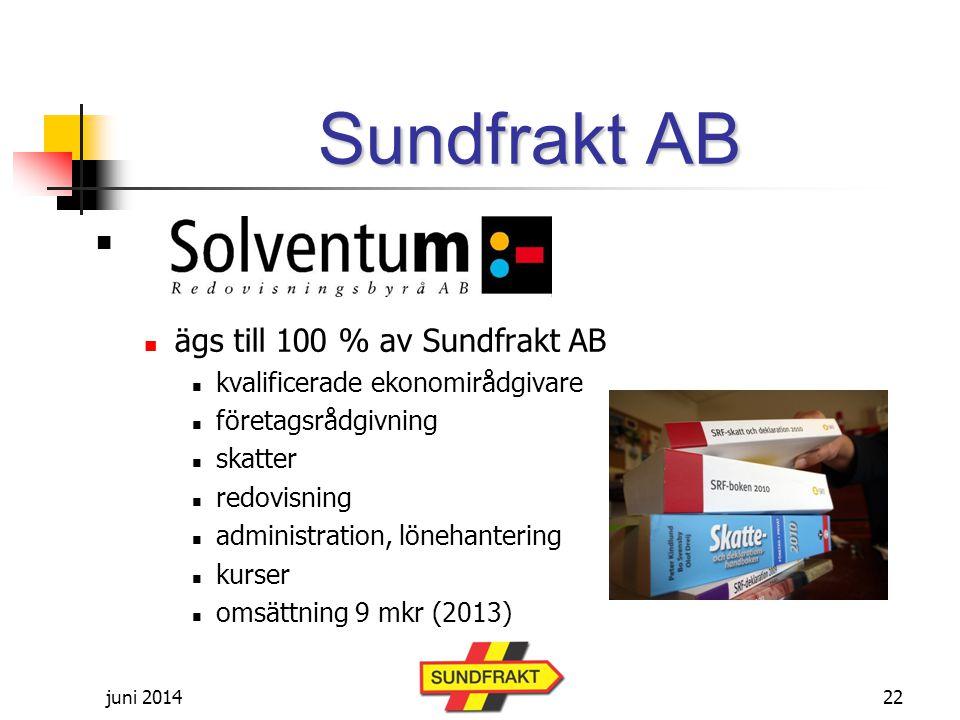 juni 2014 Sundfrakt AB   ägs till 100 % av Sundfrakt AB  kvalificerade ekonomirådgivare  företagsrådgivning  skatter  redovisning  administration, lönehantering  kurser  omsättning 9 mkr (2013) 22