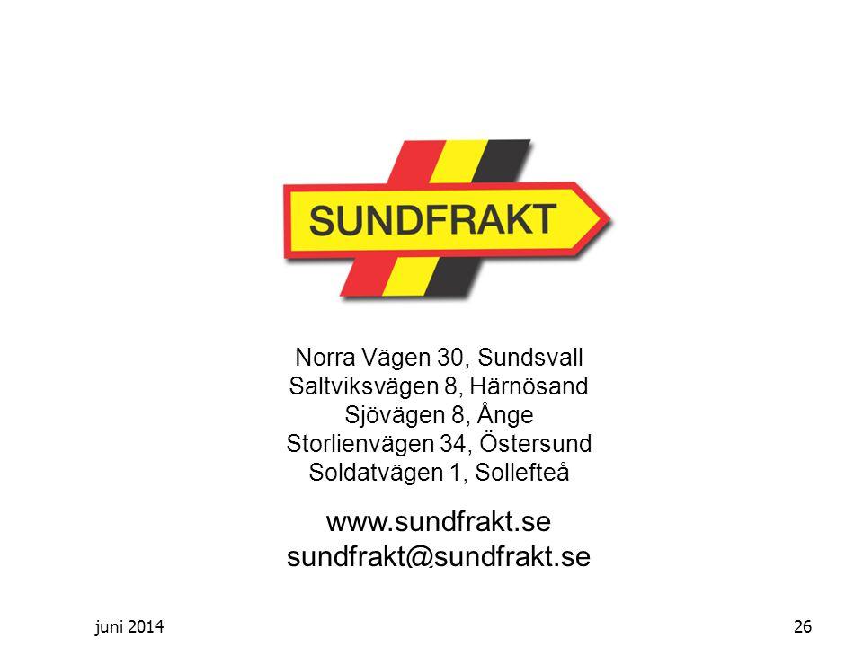 juni 2014 Norra Vägen 30, Sundsvall Saltviksvägen 8, Härnösand Sjövägen 8, Ånge Storlienvägen 34, Östersund Soldatvägen 1, Sollefteå www.sundfrakt.se sundfrakt@sundfrakt.se 26