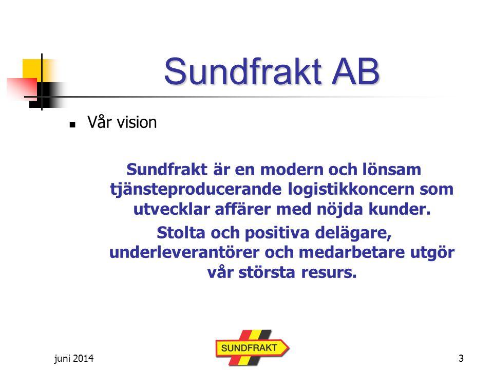 juni 2014 Sundfrakt AB  Vår vision Sundfrakt är en modern och lönsam tjänsteproducerande logistikkoncern som utvecklar affärer med nöjda kunder.