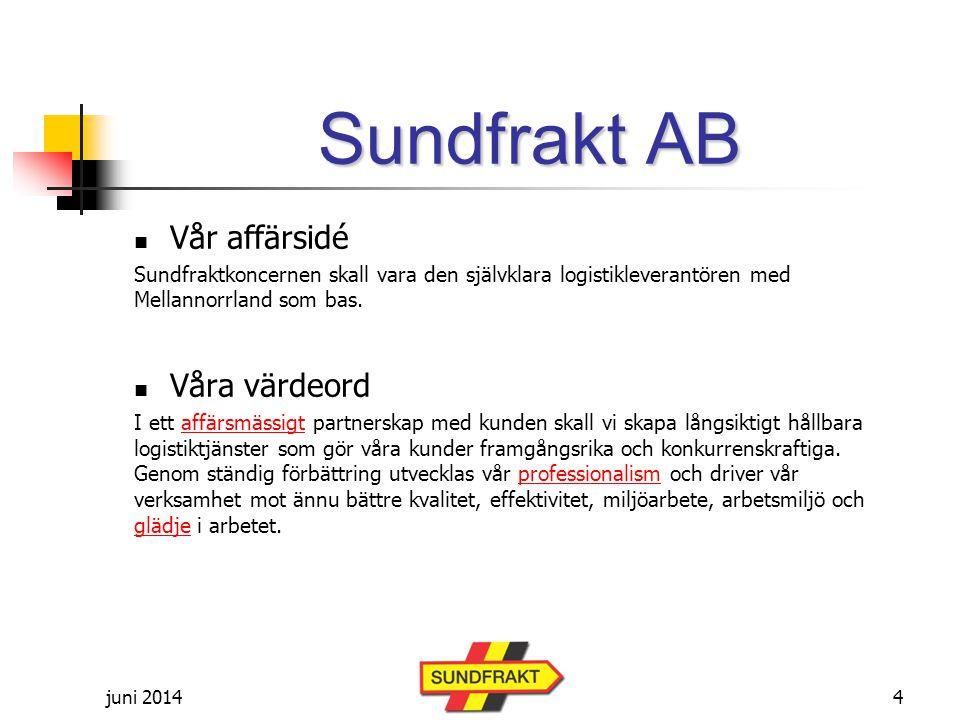 juni 2014 Sundfrakt AB  Vår affärsidé Sundfraktkoncernen skall vara den självklara logistikleverantören med Mellannorrland som bas.