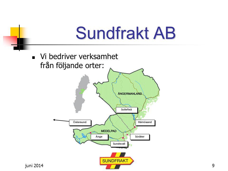 juni 2014 Sundfrakt AB  Vi bedriver verksamhet från följande orter: Söråker Sundsvall Ånge Härnösand Östersund Sollefteå 9