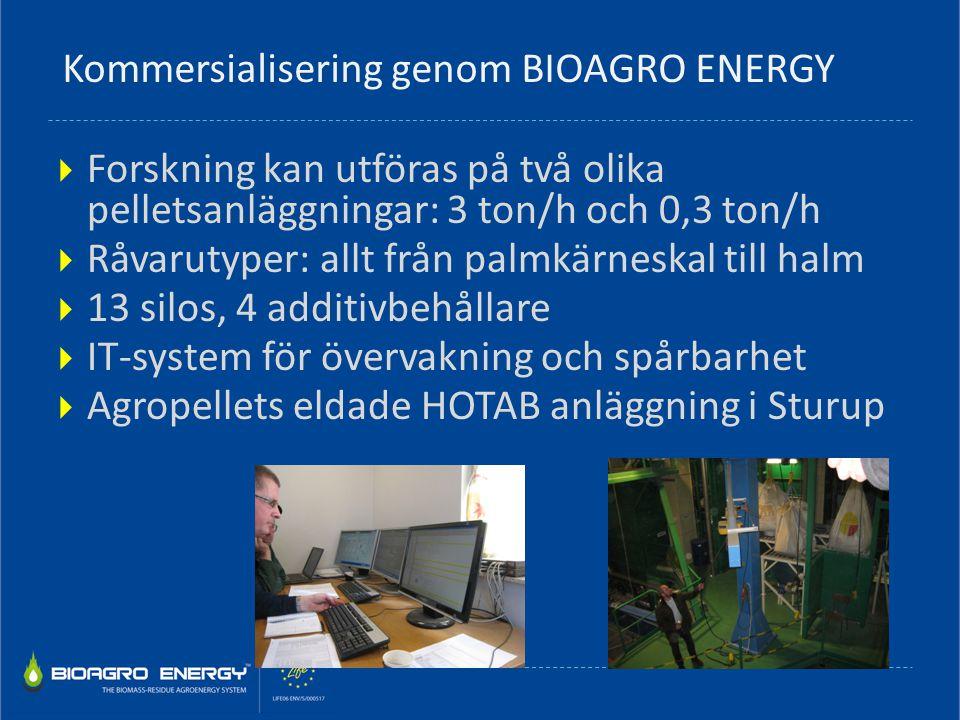  Forskning kan utföras på två olika pelletsanläggningar: 3 ton/h och 0,3 ton/h  Råvarutyper: allt från palmkärneskal till halm  13 silos, 4 additiv