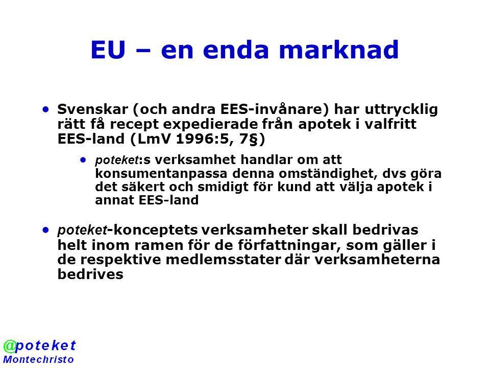 EU – en enda marknad  Svenskar (och andra EES-invånare) har uttrycklig rätt få recept expedierade från apotek i valfritt EES-land (LmV 1996:5, 7§)  poteket :s verksamhet handlar om att konsumentanpassa denna omständighet, dvs göra det säkert och smidigt för kund att välja apotek i annat EES-land  poteket -konceptets verksamheter skall bedrivas helt inom ramen för de författningar, som gäller i de respektive medlemsstater där verksamheterna bedrives