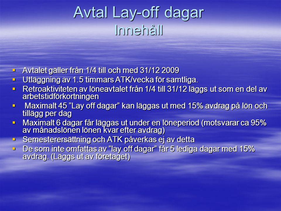 Avtal Lay-off dagar Innehåll  Avtalet gäller från 1/4 till och med 31/12 2009  Utläggning av 1.5 timmars ATK/vecka för samtliga.