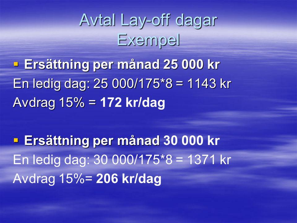 Avtal Lay-off dagar Exempel  Ersättning per månad 25 000 kr En ledig dag: 25 000/175*8 = 1143 kr Avdrag 15% = Avdrag 15% = 172 kr/dag  Ersättning per månad  Ersättning per månad 30 000 kr En ledig dag: 30 000/175*8 = 1371 kr Avdrag 15%= 206 kr/dag