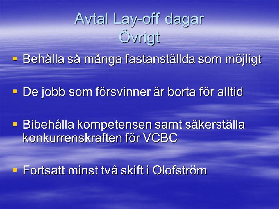 Avtal Lay-off dagar Övrigt  Behålla så många fastanställda som möjligt  De jobb som försvinner är borta för alltid  Bibehålla kompetensen samt säkerställa konkurrenskraften för VCBC  Fortsatt minst två skift i Olofström