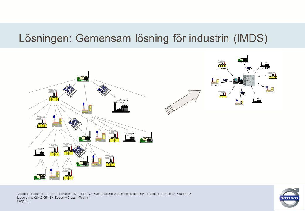 ,,, Page 12 Issue date:, Security Class: Hersteller Lieferant Lösningen: Gemensam lösning för industrin (IMDS)
