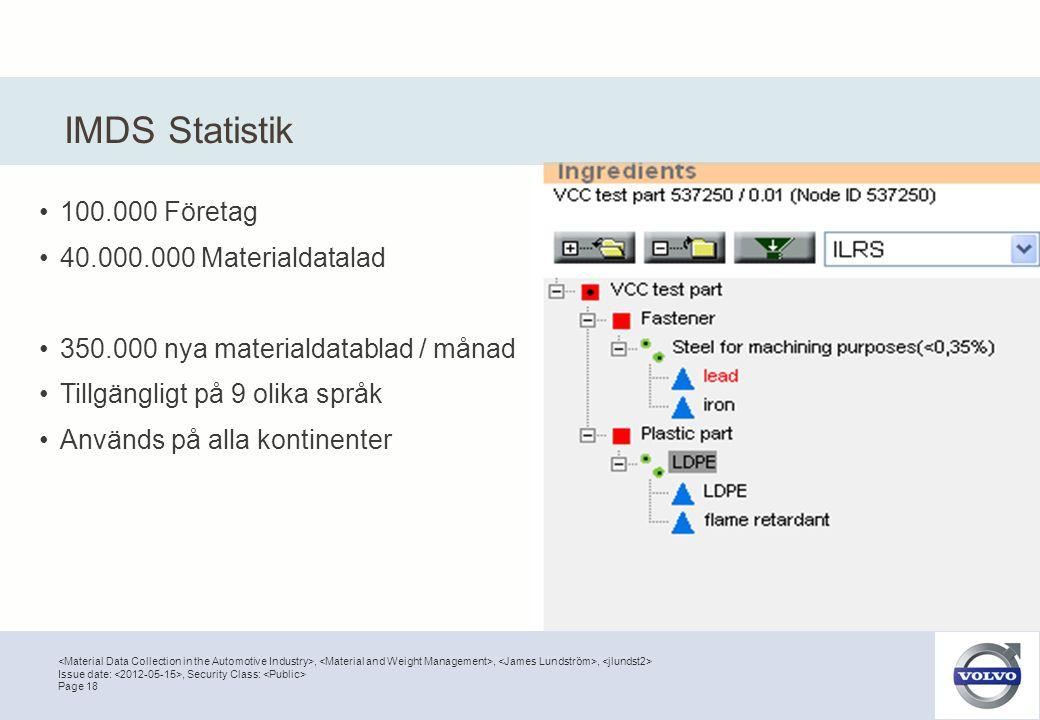 ,,, Page 18 Issue date:, Security Class: IMDS Statistik •100.000 Företag •40.000.000 Materialdatalad •350.000 nya materialdatablad / månad •Tillgängli