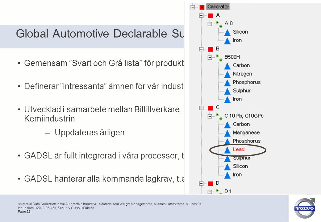 ",,, Page 22 Issue date:, Security Class: Global Automotive Declarable Substance List (GADSL) •Gemensam ""Svart och Grå lista"" för produkter i fordonsin"