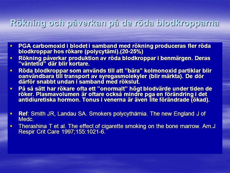 Rökning och påverkan på de röda blodkropparna  PGA carbomoxid i blodet i samband med rökning produceras fler röda blodkroppar hos rökare (polycytämi)