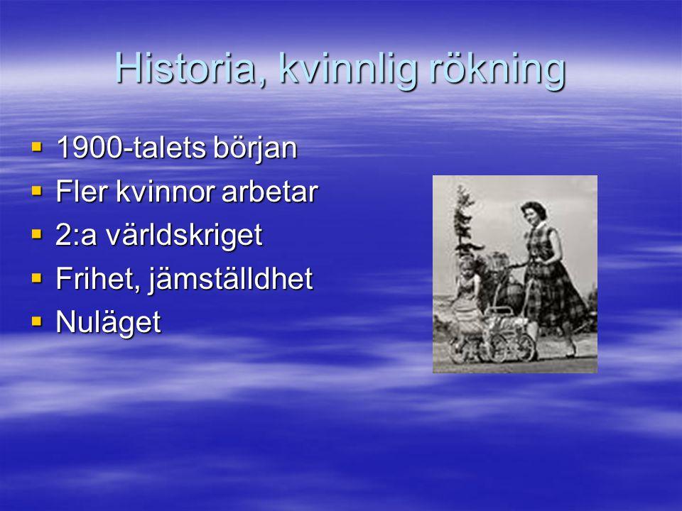 Historia, kvinnlig rökning  1900-talets början  Fler kvinnor arbetar  2:a världskriget  Frihet, jämställdhet  Nuläget