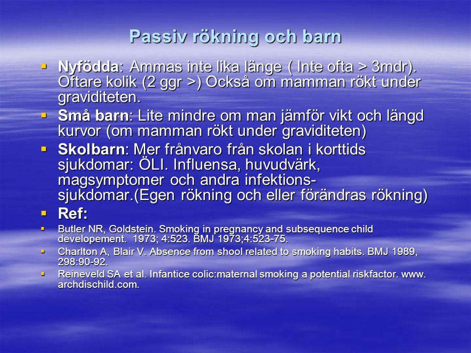 Passiv rökning och barn  Nyfödda: Ammas inte lika länge ( Inte ofta > 3mdr). Oftare kolik (2 ggr >) Också om mamman rökt under graviditeten.  Små ba