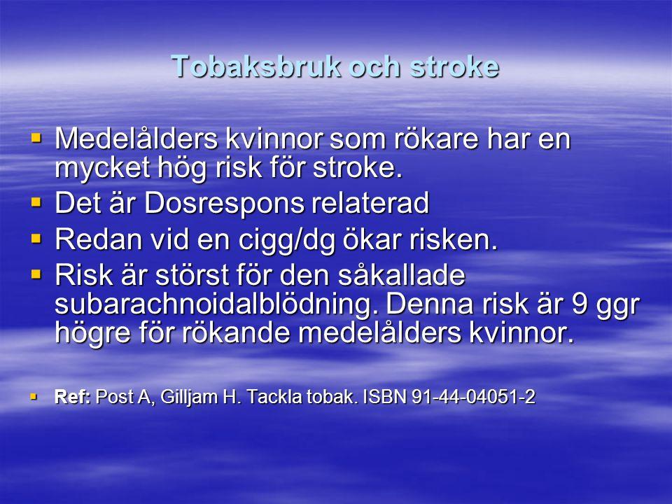 Tobaksbruk och stroke  Medelålders kvinnor som rökare har en mycket hög risk för stroke.  Det är Dosrespons relaterad  Redan vid en cigg/dg ökar ri