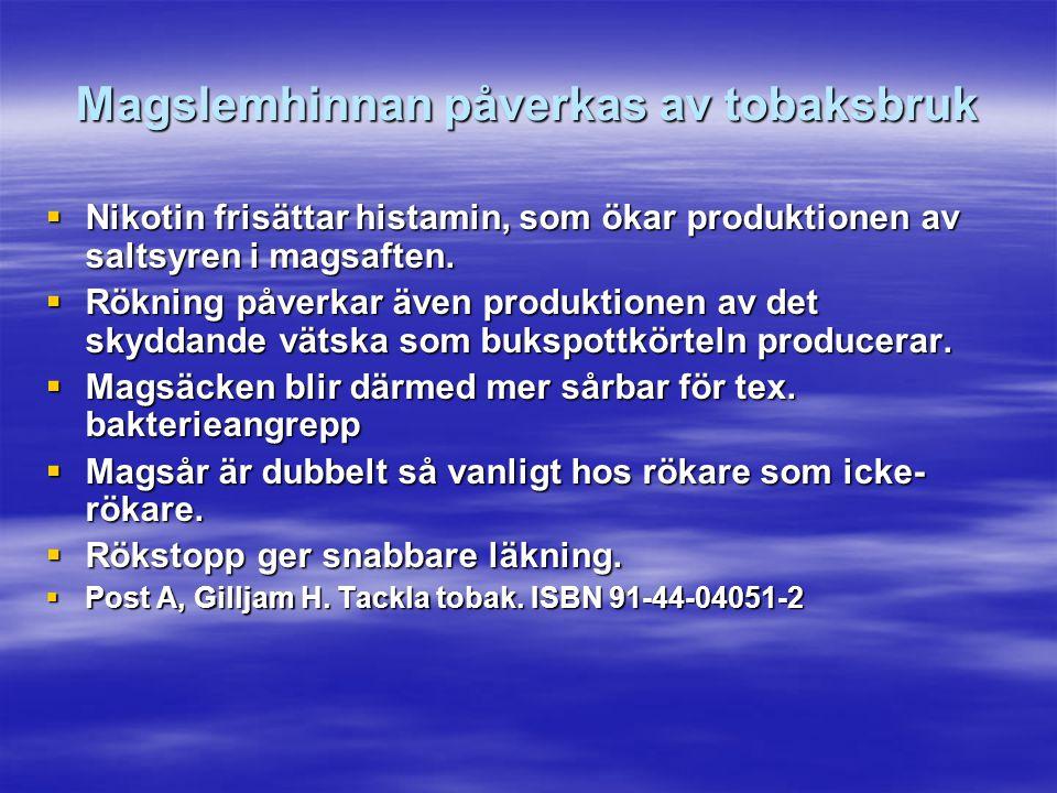 Magslemhinnan påverkas av tobaksbruk  Nikotin frisättar histamin, som ökar produktionen av saltsyren i magsaften.  Rökning påverkar även produktione