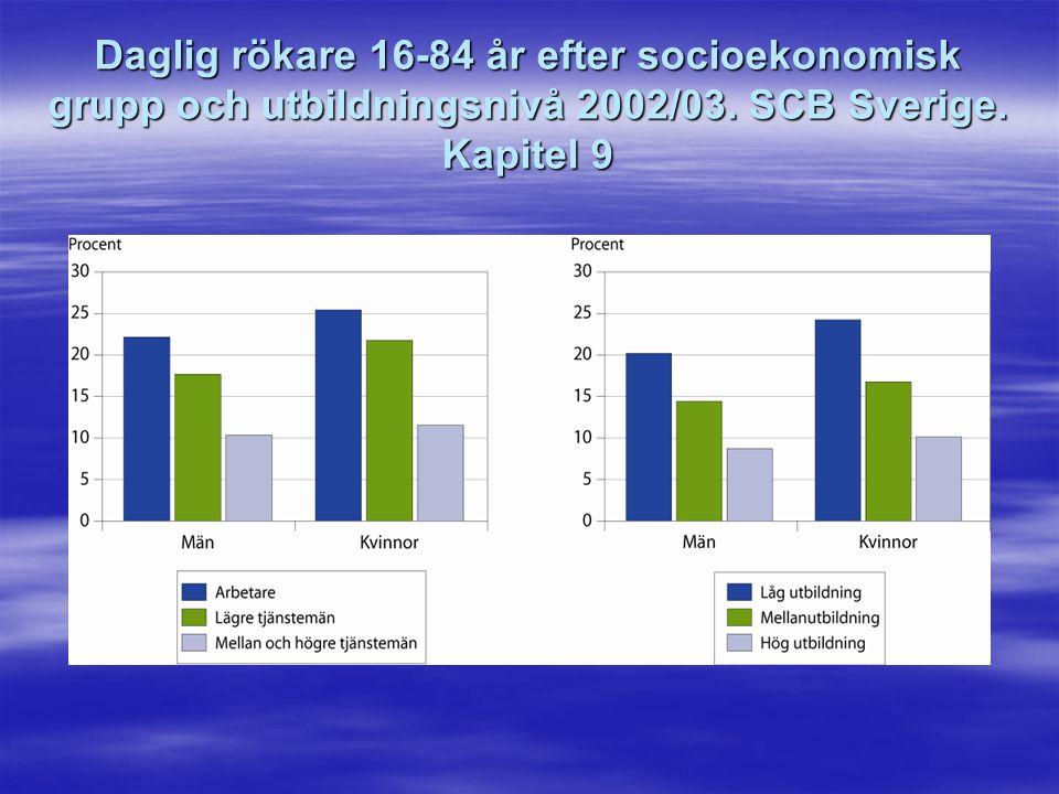 Daglig rökare 16-84 år efter socioekonomisk grupp och utbildningsnivå 2002/03. SCB Sverige. Kapitel 9