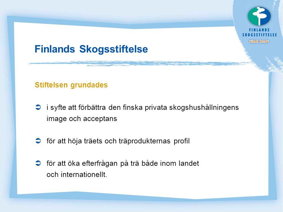 Finlands Skogsstiftelses sätt att verka Stiftelsen beviljar projektfinansiering, stipendier och understöd Finansieringen går till:  projekt som ger allmän acceptans och som stödjer och främjar träets position  skogsinformation inom landet och internationellt  forskning och utveckling (om skogssektorns socioekonomiska verkningar)