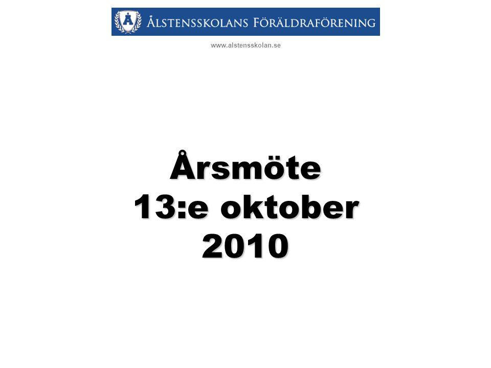 Dagordning 1Mötets öppnande samt fastställande av röstlängd 2Val av mötesfunktionärer 3Fråga om mötet blivit behörigen kallat 4Fastställande av dagordning 5Föredragning av a) Styrelsens verksamhetsberättelse b) Balans- & resultaträkning 2009/10 samt förslag till vinstdisposition c) Revisionsberättelse 6Fastställande av verksamhets- berättelsen samt beslut om vinstdisposition 7Fråga om ansvarsfrihet för styrelsen 8Behandling av förslag från styrelsen och motioner a)Motioner och övriga förslag b)Verksamhetsplan c)Budget och fastställande av medlemsavgift 9Fastställande av antalet ledamöter och suppleanter 10Fastställande av arvoden 11Val av styrelse för kommande mandatperiod 12Val av revisor och revisors- suppleant för kommande mandatperiod 13Val av valberedning 14Övriga frågor 15Ordförande förklarar årsmötet avslutat www.alstensskolan.se