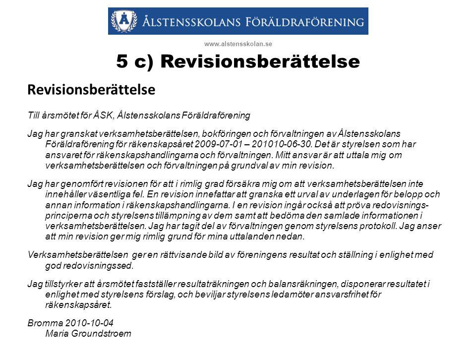 5 c) Revisionsberättelse Revisionsberättelse Till årsmötet för ÅSK, Ålstensskolans Föräldraförening Jag har granskat verksamhetsberättelsen, bokföringen och förvaltningen av Ålstensskolans Föräldraförening för räkenskapsåret 2009-07-01 – 201010-06-30.