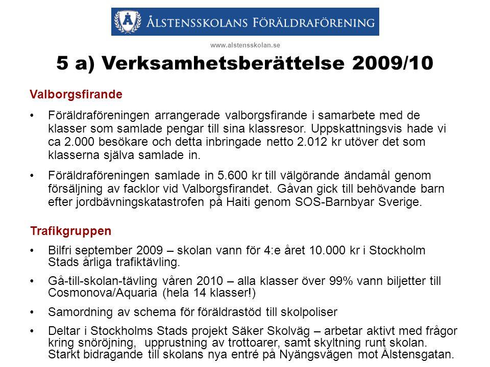 5 a) Verksamhetsberättelse 2009/10 Valborgsfirande •Föräldraföreningen arrangerade valborgsfirande i samarbete med de klasser som samlade pengar till sina klassresor.