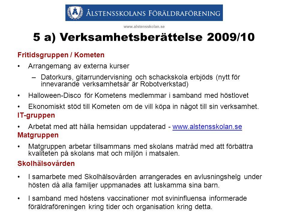 5 a) Verksamhetsberättelse 2009/10 Fritidsgruppen / Kometen •Arrangemang av externa kurser –Datorkurs, gitarrundervisning och schackskola erbjöds (nyt