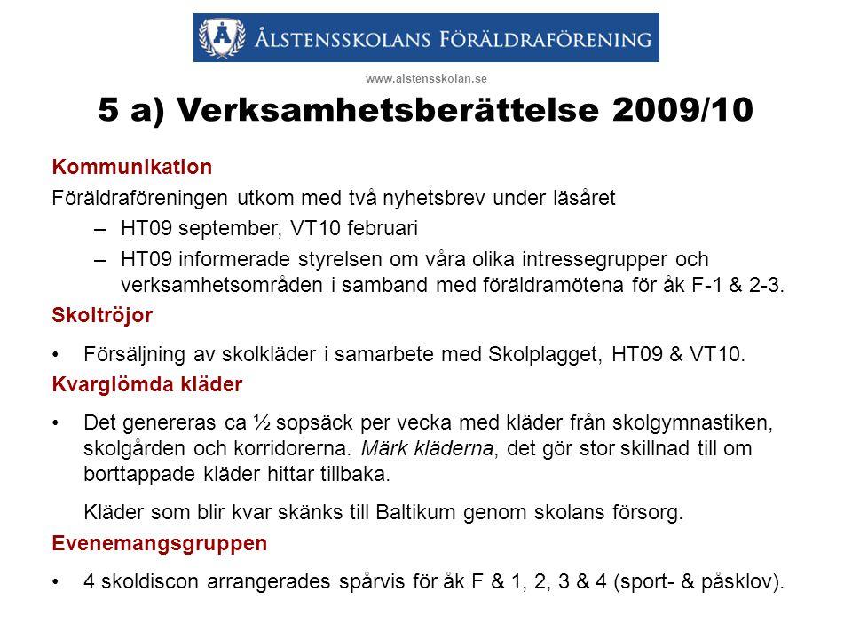 5 a) Verksamhetsberättelse 2009/10 Kommunikation Föräldraföreningen utkom med två nyhetsbrev under läsåret –HT09 september, VT10 februari –HT09 inform