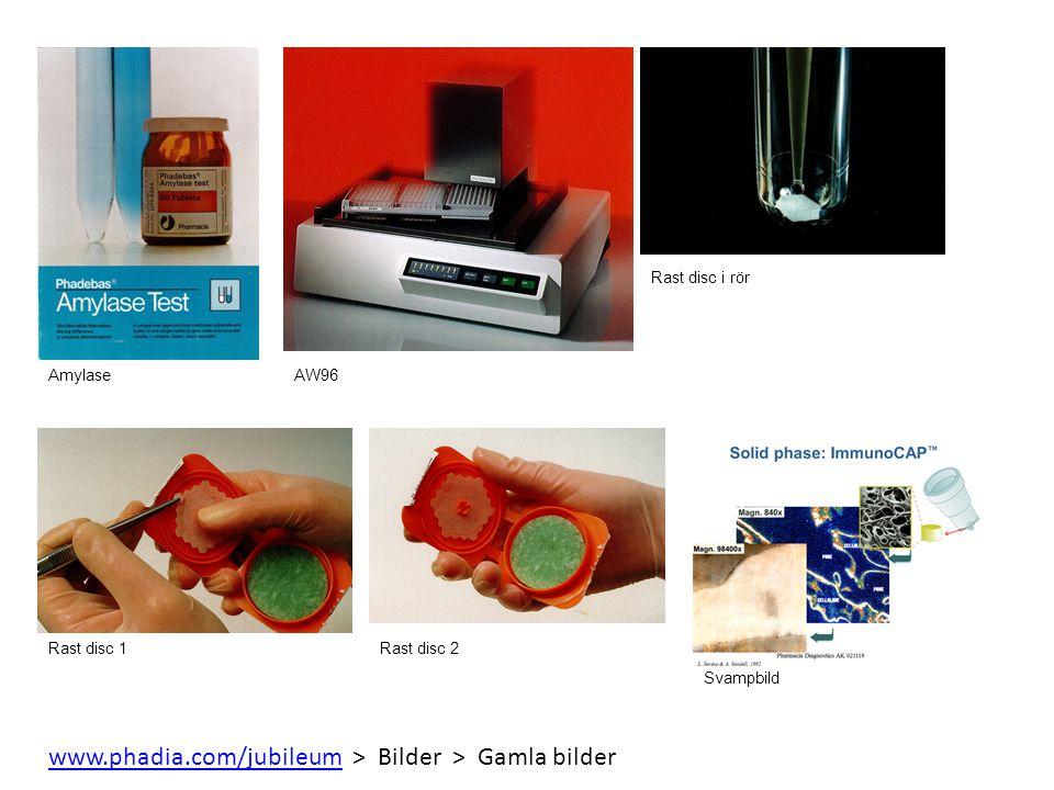 AmylaseAW96 Rast disc i rör Rast disc 1Rast disc 2 Svampbild www.phadia.com/jubileumwww.phadia.com/jubileum > Bilder > Gamla bilder