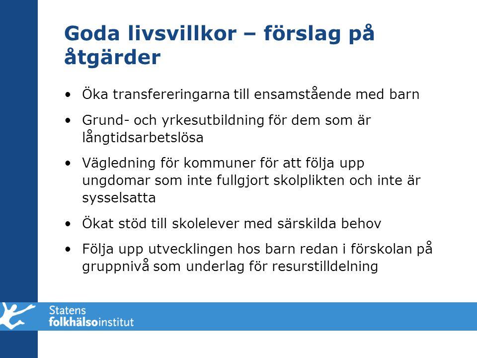 Goda livsvillkor – förslag på åtgärder •Öka transfereringarna till ensamstående med barn •Grund- och yrkesutbildning för dem som är långtidsarbetslösa