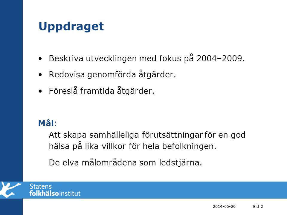 2014-06-29Sid 2 Uppdraget •Beskriva utvecklingen med fokus på 2004–2009. •Redovisa genomförda åtgärder. •Föreslå framtida åtgärder. Mål: Att skapa sam