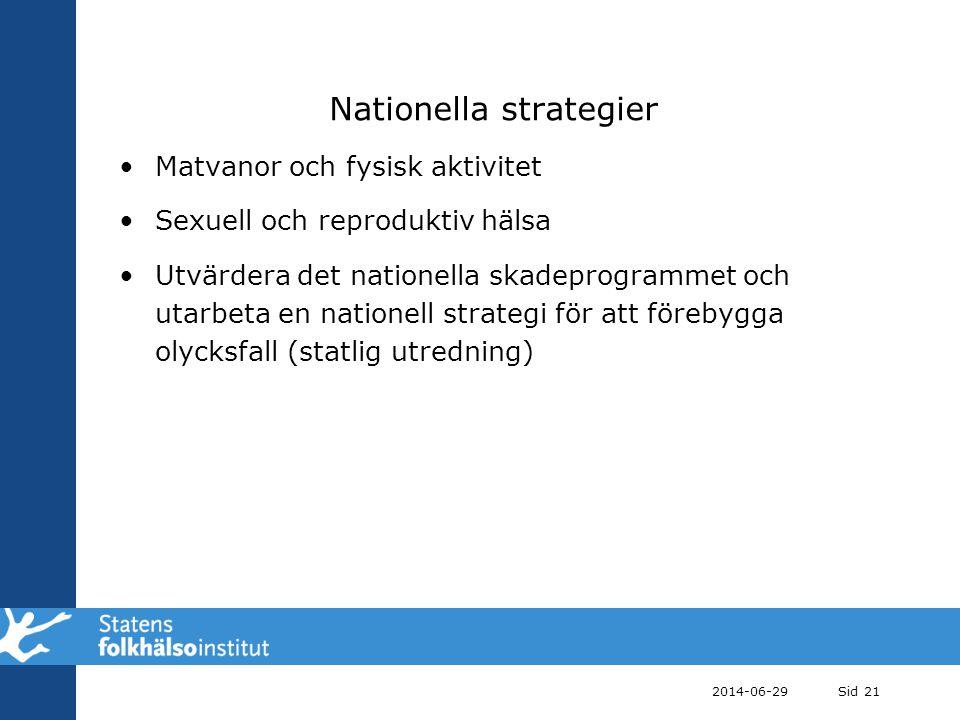 Nationella strategier •Matvanor och fysisk aktivitet •Sexuell och reproduktiv hälsa •Utvärdera det nationella skadeprogrammet och utarbeta en nationel