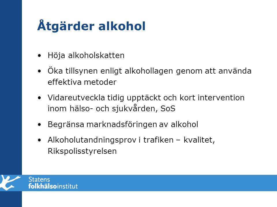 Åtgärder alkohol •Höja alkoholskatten •Öka tillsynen enligt alkohollagen genom att använda effektiva metoder •Vidareutveckla tidig upptäckt och kort i
