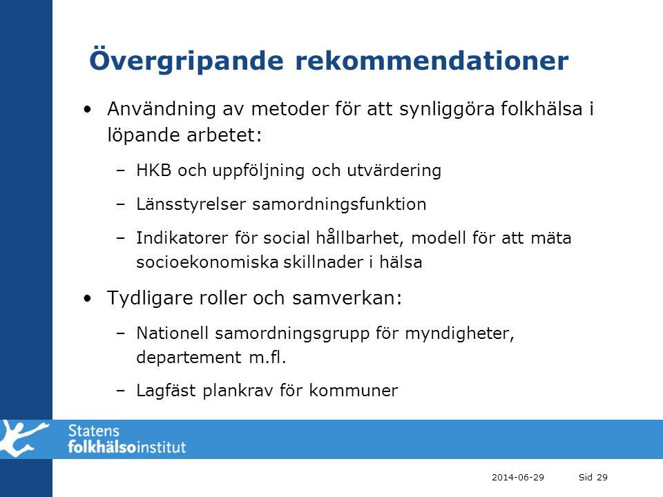 Övergripande rekommendationer •Användning av metoder för att synliggöra folkhälsa i löpande arbetet: –HKB och uppföljning och utvärdering –Länsstyrels