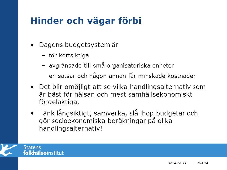 2014-06-29Sid 34 Hinder och vägar förbi •Dagens budgetsystem är –för kortsiktiga –avgränsade till små organisatoriska enheter –en satsar och någon ann