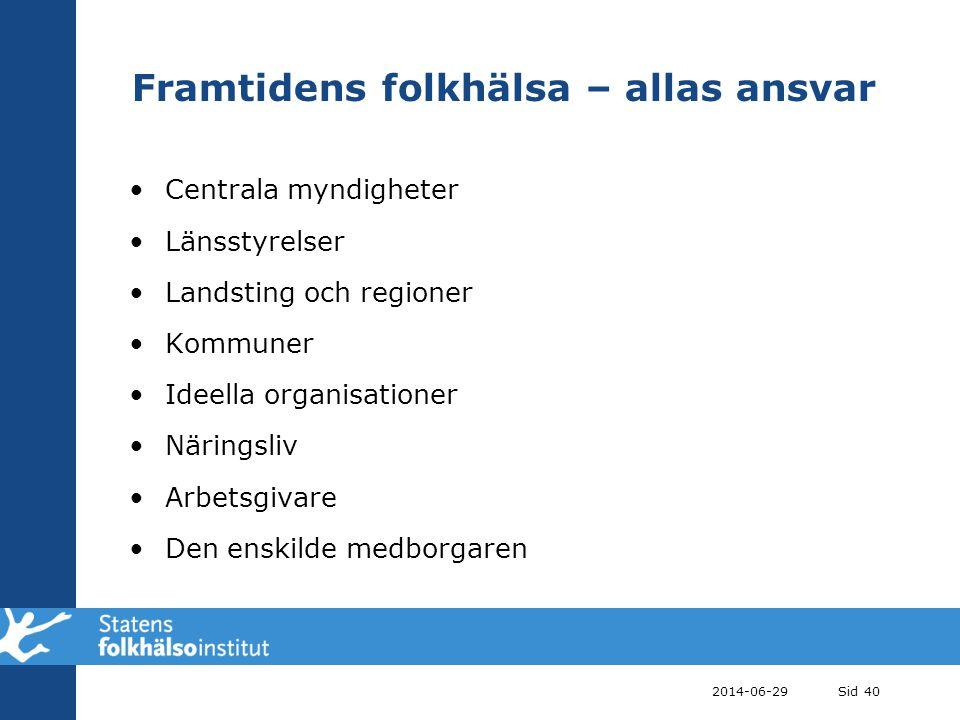 2014-06-29Sid 40 Framtidens folkhälsa – allas ansvar •Centrala myndigheter •Länsstyrelser •Landsting och regioner •Kommuner •Ideella organisationer •N