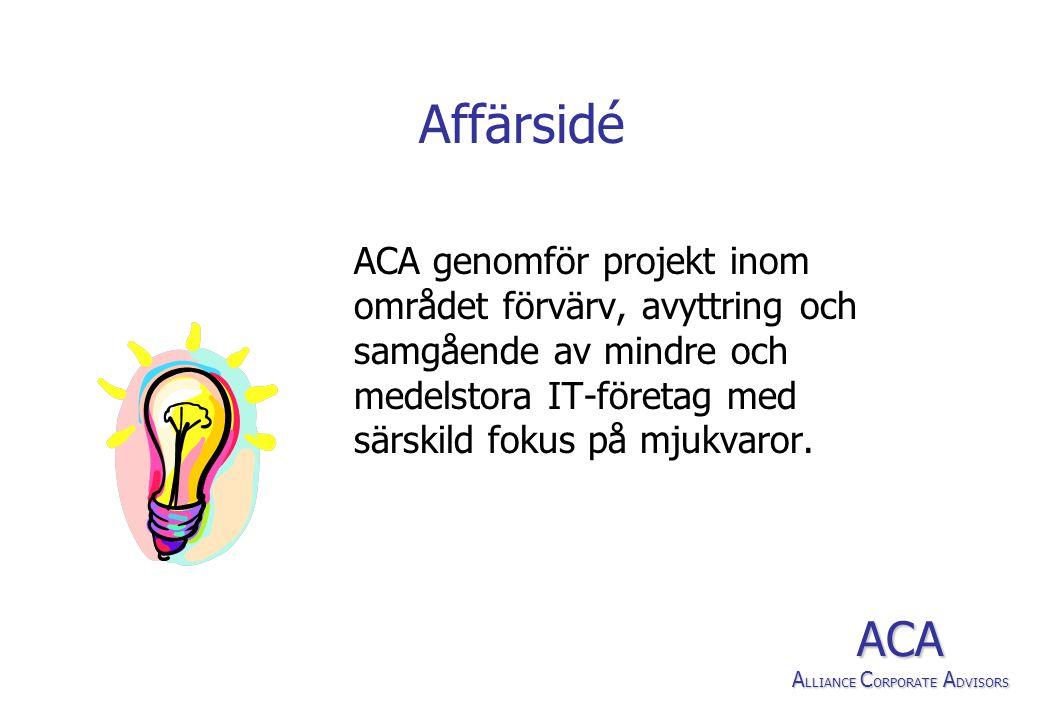 Affärsidé ACA genomför projekt inom området förvärv, avyttring och samgående av mindre och medelstora IT-företag med särskild fokus på mjukvaror.