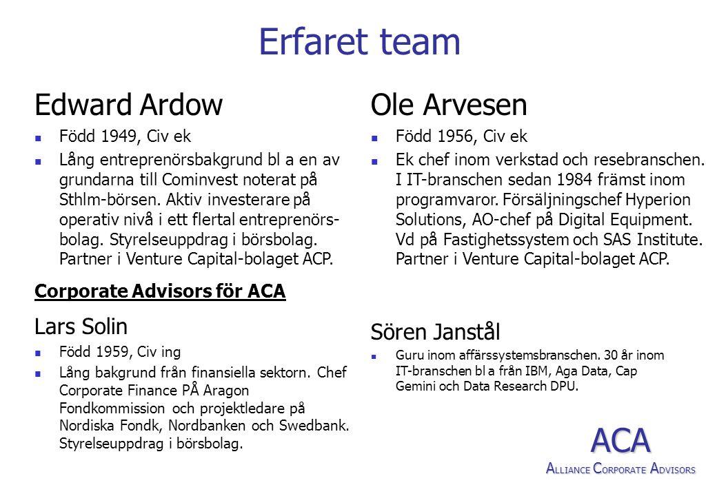 Erfaret team Lars Solin  Född 1959, Civ ing  Lång bakgrund från finansiella sektorn.